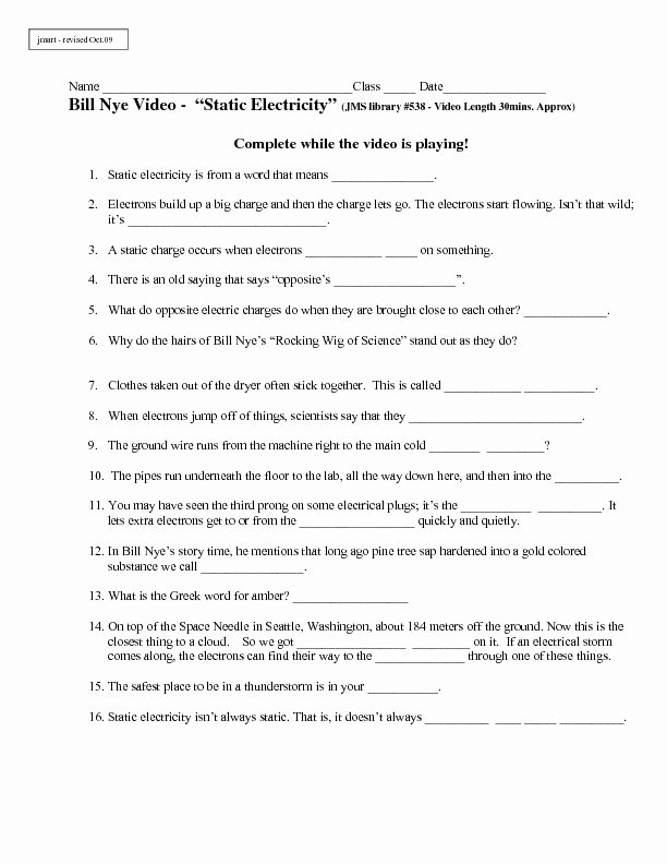 Bill Nye Energy Worksheet Answers Fresh Electricity Electricity Worksheets