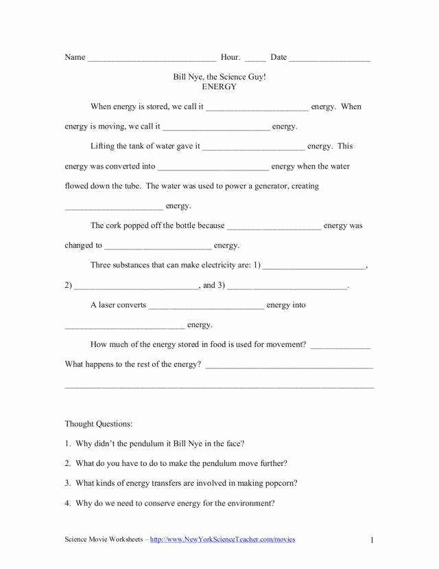 Bill Nye Energy Worksheet Answers Unique Bill Nye Electricity Worksheet