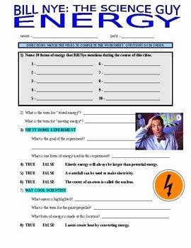 Bill Nye Energy Worksheet Lovely Bill Nye the Science Guy Energy Video Worksheet by