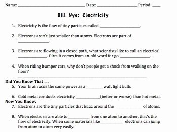 Bill Nye Energy Worksheet Unique Bill Nye Electricity Video Worksheet by Mayberry In