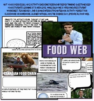 Bill Nye Food Web Worksheet Inspirational Bill Nye Food Web Food Chain Ecology Worksheet Key
