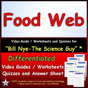 Bill Nye Food Web Worksheet Luxury Star Materials Teaching Resources
