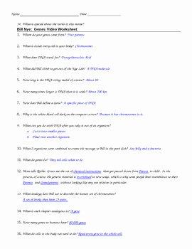 Bill Nye Genes Worksheet Beautiful Bill Nye Genes Video Guide by Jjms