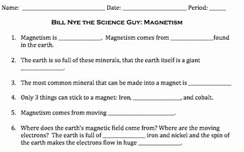Bill Nye Magnetism Worksheet Answers Beautiful Bill Nye Magnetism Video Worksheet by Mayberry In Montana