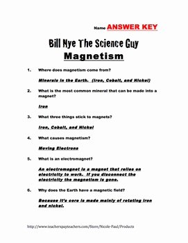 Bill Nye Magnetism Worksheet Answers Beautiful Bill Nye Questions Magnetism 17 Questions with Answer
