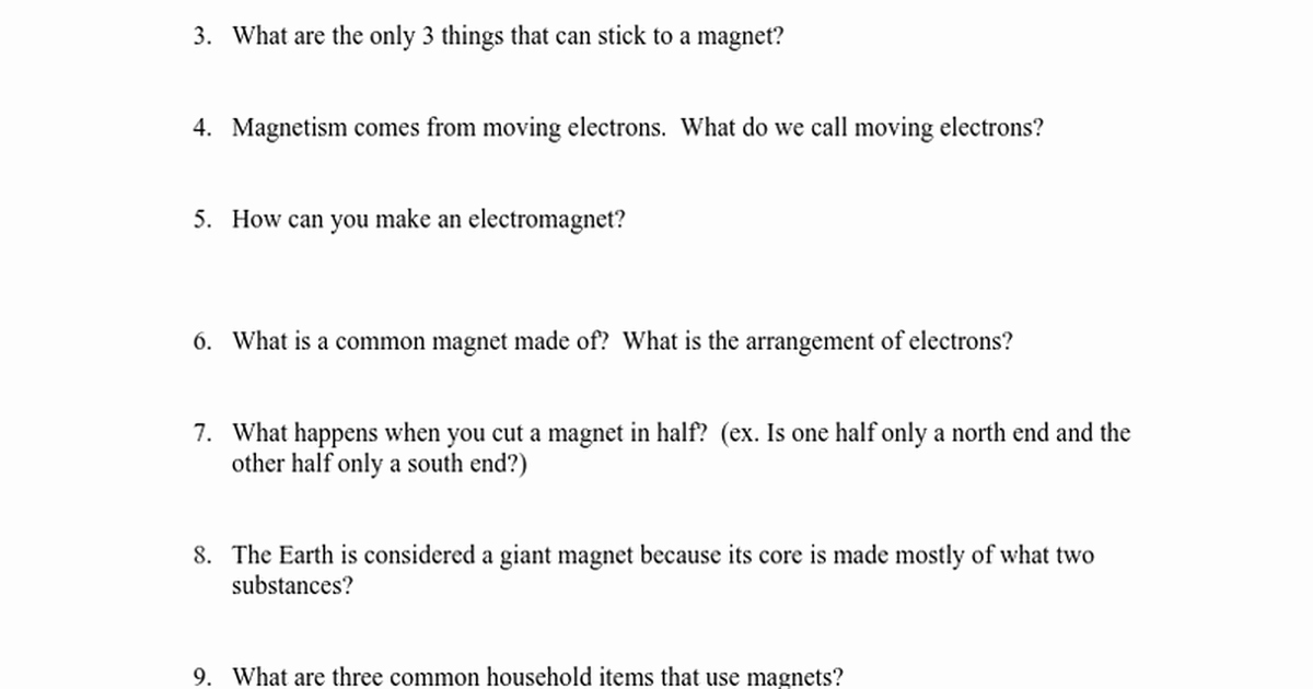 Bill Nye Magnetism Worksheet Answers Luxury Bill Nye Magnetism Questions Google Docs