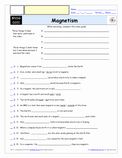 Bill Nye Magnetism Worksheet Answers Luxury Worksheet for Bill Nye Magnetism Video Differentiated