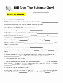 Bill Nye Motion Worksheet Answers Awesome Bill Nye Phases Of Matter Video Worksheet by Science with