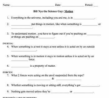 Bill Nye Motion Worksheet Answers Beautiful Bill Nye Motion Video Worksheet by Mayberry In Montana