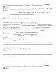 Bill Nye Motion Worksheet Answers Beautiful Bill Nye Motion Worksheet for 5th 10th Grade