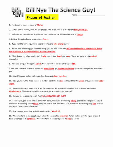 Bill Nye Motion Worksheet Answers Beautiful Bill Nye Phases Of Matter Video Worksheet by Mmingels