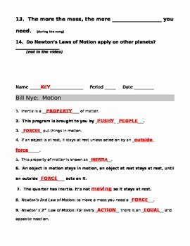 Bill Nye Motion Worksheet Answers Best Of Bill Nye Motion Guide Sheet by Jjms