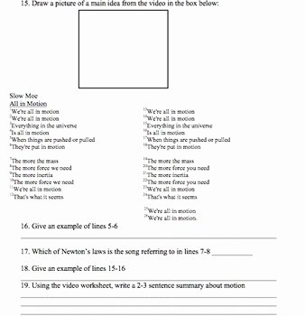 Bill Nye Motion Worksheet Answers Best Of Bill Nye Motion Video Worksheet by Mayberry In Montana