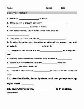 Bill Nye Motion Worksheet Answers Lovely Bill Nye Motion Guide Sheet by Jjms