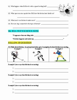 Bill Nye Motion Worksheet Answers Lovely Bill Nye the Science Guy Friction forces & Motion Video
