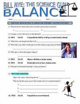 Bill Nye Motion Worksheet Answers Luxury Bill Nye the Science Guy Balance forces & Motion Video