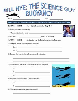 Bill Nye Motion Worksheet Answers New Bill Nye the Science Guy Buoyancy forces & Motion Video