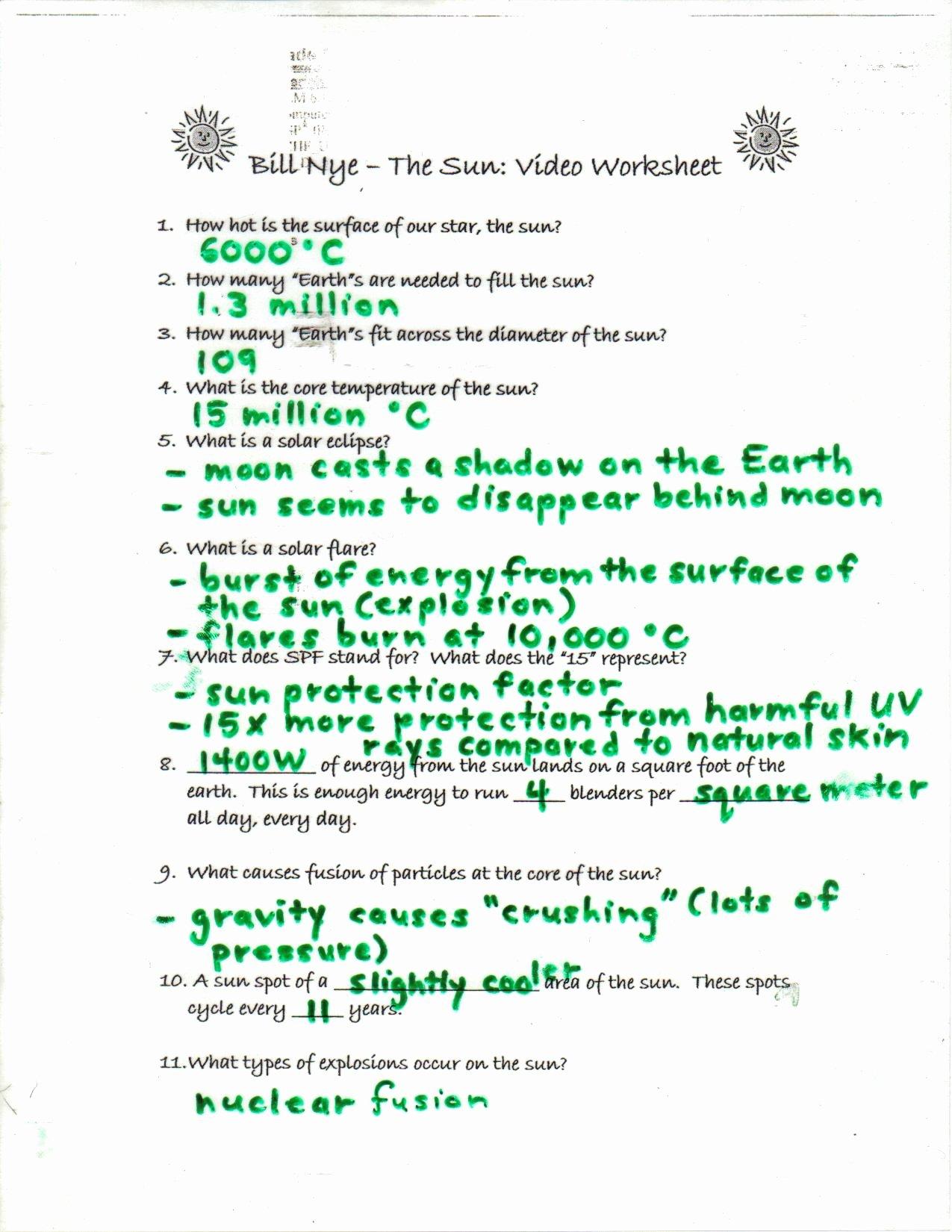 Bill Nye Motion Worksheet Answers New Bill Nye the Science Guy Earths Seasons Video Worksheet