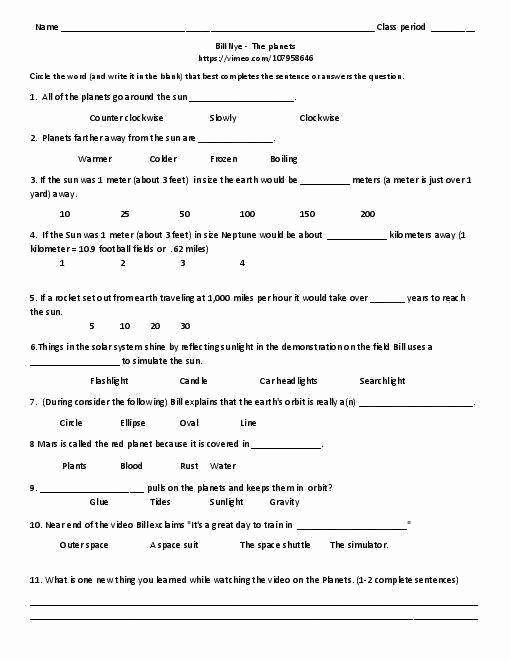 Bill Nye Motion Worksheet Answers Unique Bill Nye Energy Worksheet