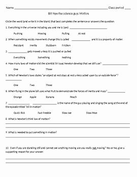 Bill Nye Motion Worksheet Answers Unique Bill Nye Motion Video Follow Along Sheet with Answer