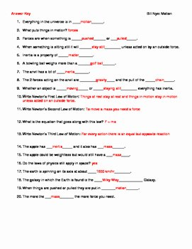 Bill Nye Motion Worksheet Answers Unique Video Worksheet Movie Guide for Bill Nye Motion by