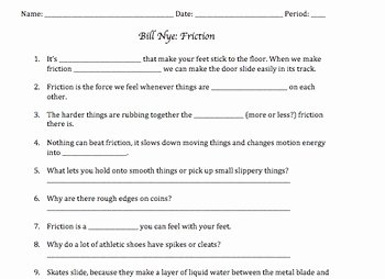 Bill Nye Motion Worksheet Best Of Bill Nye Friction Video Worksheet by Mayberry In Montana