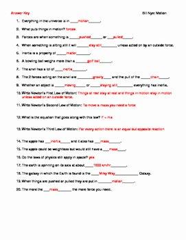Bill Nye Motion Worksheet Inspirational Video Worksheet Movie Guide for Bill Nye Motion by