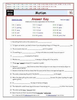 Differentiated Video Worksheet Quiz Ans for Bill Nye Motion