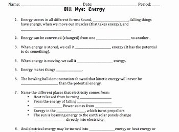 Bill Nye Motion Worksheet New Bill Nye Energy Video Worksheet by Mayberry In Montana