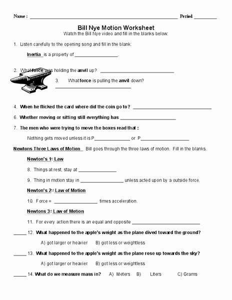 Bill Nye Motion Worksheet New Bill Nye Motion Worksheet for 6th 10th Grade