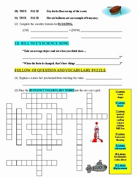 Bill Nye Motion Worksheet Unique Bill Nye the Science Guy Buoyancy forces & Motion Video