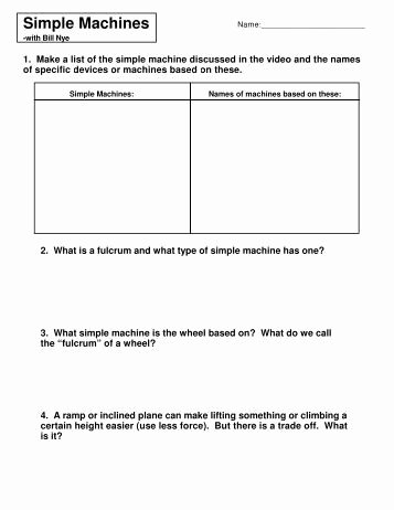 Bill Nye Simple Machines Worksheet New Work Simple Machines and Power Worksheet