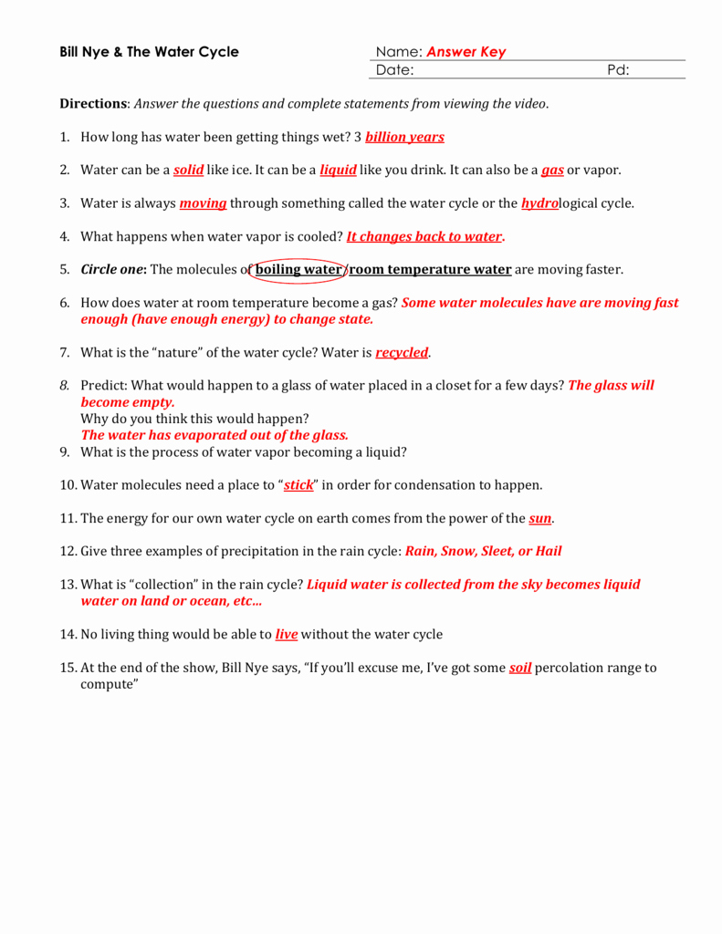 Bill Nye Water Cycle Worksheet Awesome Worksheet the Water Cycle Worksheet Worksheet Fun