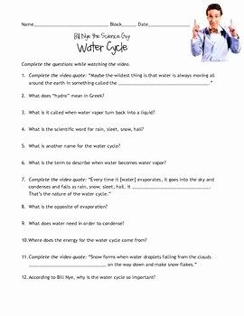 Bill Nye Water Cycle Worksheet Best Of Bill Nye Water Cycle Guidesheet by Amy Schulze