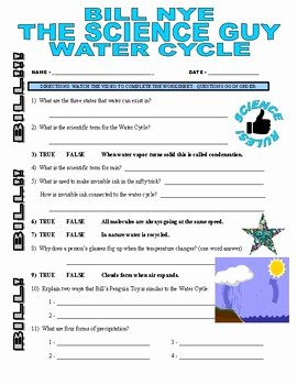 Bill Nye Water Cycle Worksheet Elegant Bill Nye the Science Guy Water Cycle Video Worksheet