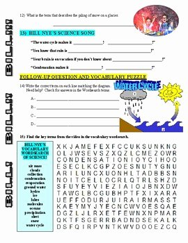Bill Nye Water Cycle Worksheet Fresh Bill Nye the Science Guy Water Cycle Video Worksheet