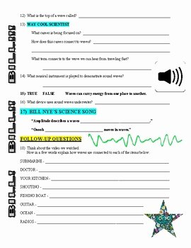Bill Nye Waves Worksheet Beautiful Bill Nye the Science Guy Waves Video Worksheet by