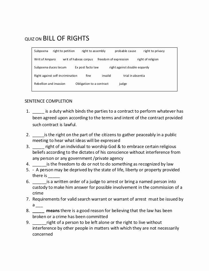 Bill Of Rights Scenario Worksheet Beautiful Quiz On Bill Of Rights