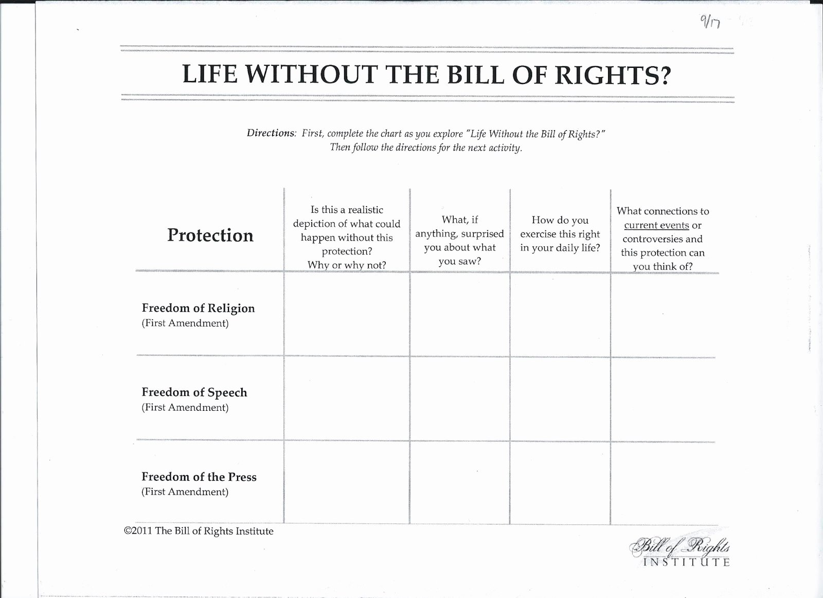 Bill Of Rights Scenario Worksheet Unique Bill Rights Scenario Worksheet