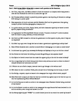 Bill Of Rights Scenarios Worksheet Beautiful Bill Of Rights Quiz or Test assessment Application and
