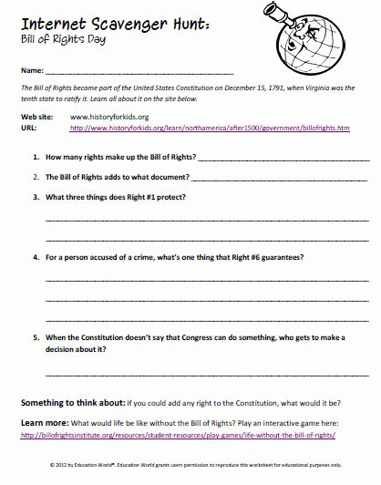 bill of rights worksheets