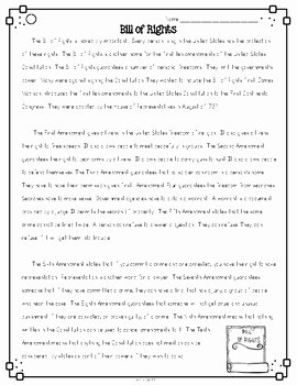 Bill Of Rights Scenarios Worksheet New Bill Of Rights Differentiated Close Reading Passages