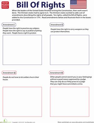 Bill Of Rights Scenarios Worksheet Unique Illustrate the Bill Of Rights Free Worksheet