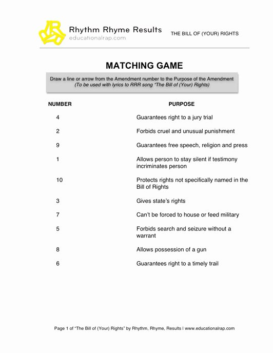Bill Of Rights Worksheet Answers Awesome social Stu S Educational songs Free Worksheets and