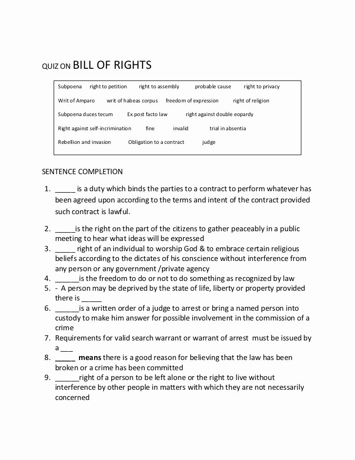 Bill Of Rights Worksheet Answers Fresh Quiz On Bill Of Rights