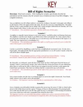 Bill Of Rights Worksheet Answers Inspirational Bill Of Rights Scenarios Homeschool