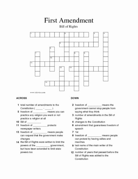 Bill Of Rights Worksheet Answers New First Amendment Crossword Puzzle Worksheet for 5th 8th