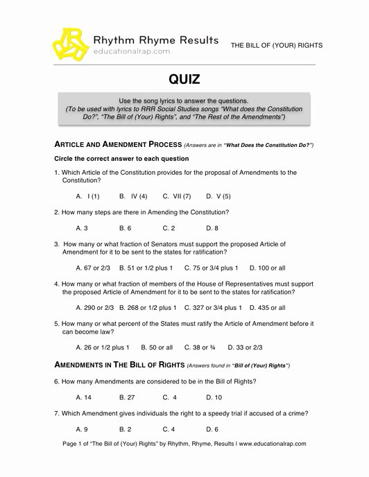 Bill Of Rights Worksheet Answers Unique social Stu S Educational songs Free Worksheets and