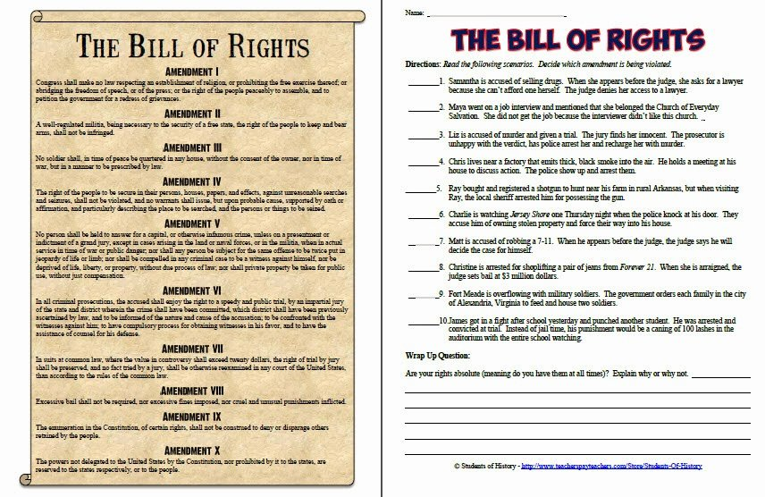 Bill Of Rights Worksheet Beautiful Students Of History New Products Just In Time for My 1