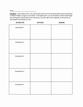 Bill Of Rights Worksheet Elegant Bill Of Rights Worksheet for U S History Summary Of